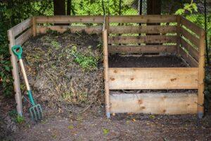 Skrzynia drewniana dwukomorowa - kompostownik ogrodowy